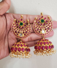 Picture of Heavy Ruby pota stone jhumkis with pearls